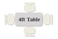 4ft blow molded table - folding and non folding with fold away legs - seats 4
