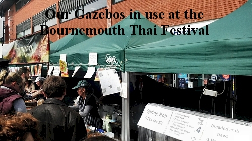 AML folding trestle tables, folding chairs and easy pop up gazebo at thai festival