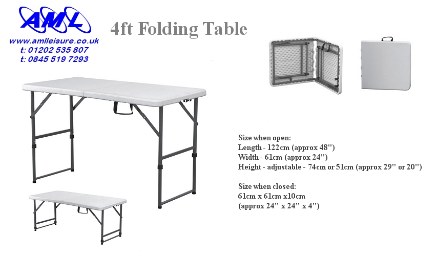 small 4ft folding table adjustable height. Black Bedroom Furniture Sets. Home Design Ideas