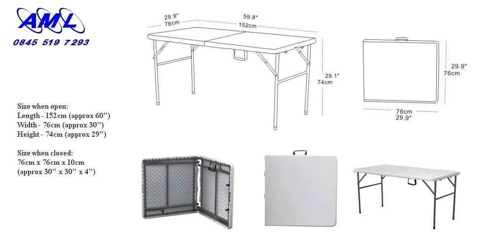5ft Folding Table - fold in half table with carry handle