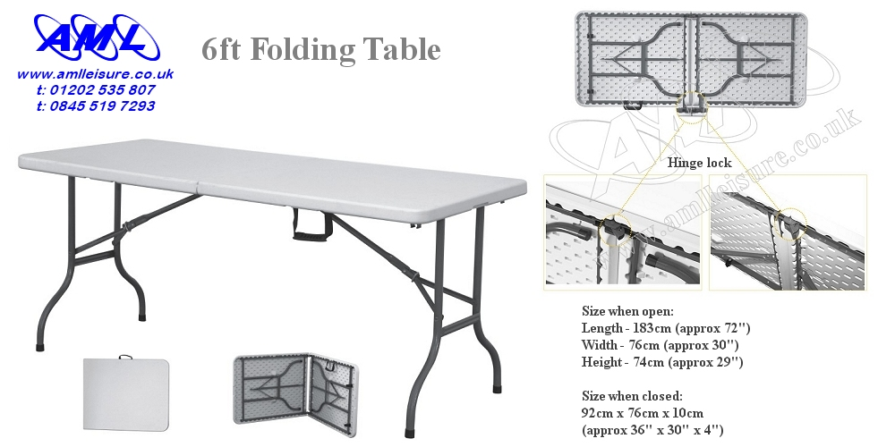6ft Folding Table - fold in half atble with carry handle