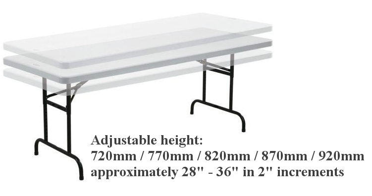 6ft Commercial Trestle Table   Adjustable Height