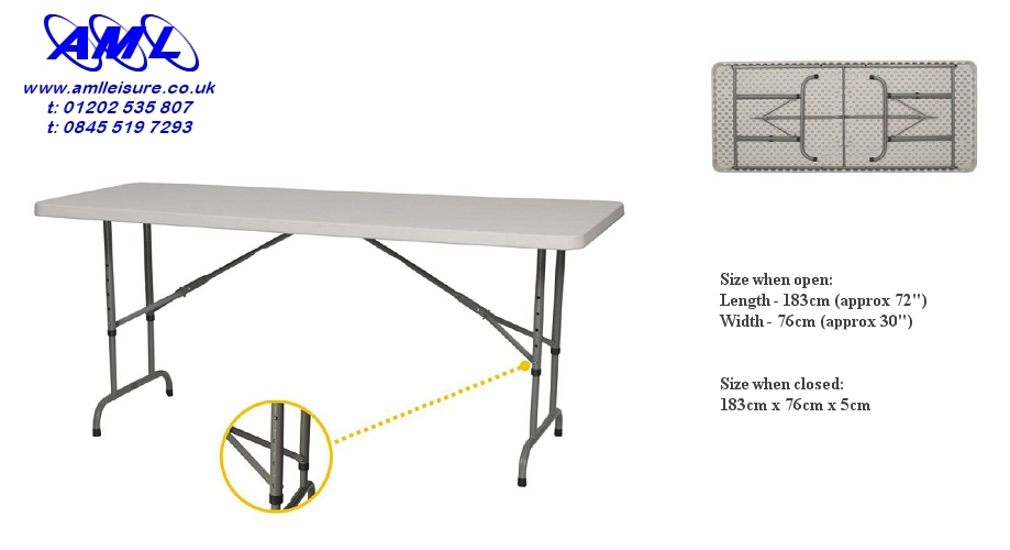 6ft adjustable height commercial trastle table