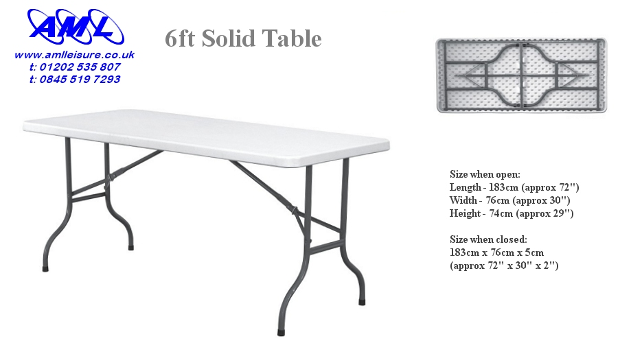 6ft Solid Topped Trestle Table - fold flat for easy storage