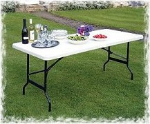 folding fold in half trestle table - ideal for a party - street parties - marquee hirers