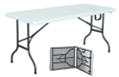6ft folding table - table folds in half with carry handle